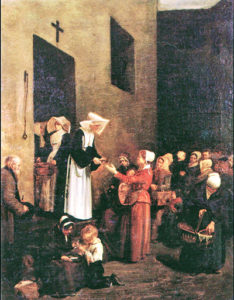 Painting depicting Rosalie serving people in Paris